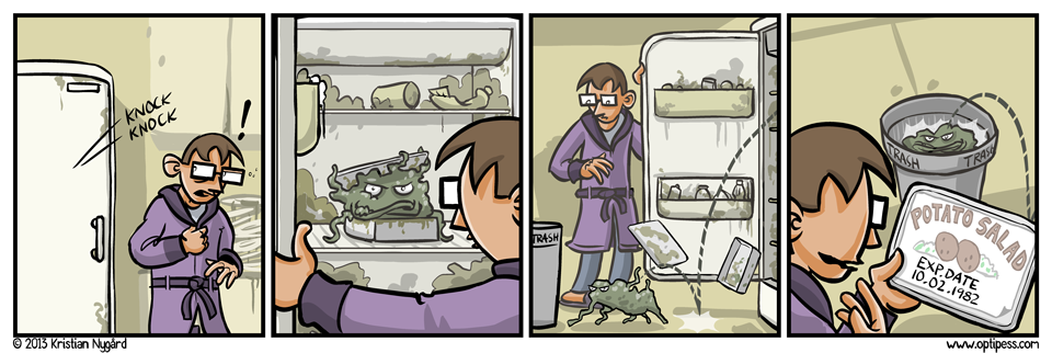 This comic is based on a true story, although in real life the potato salad forced me to buy cleaning supplies as well.