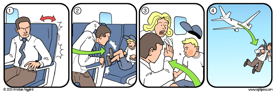 In the likely event that you will have to slap a child, an emergency parachute can be retrieved from under the seat in front of you.