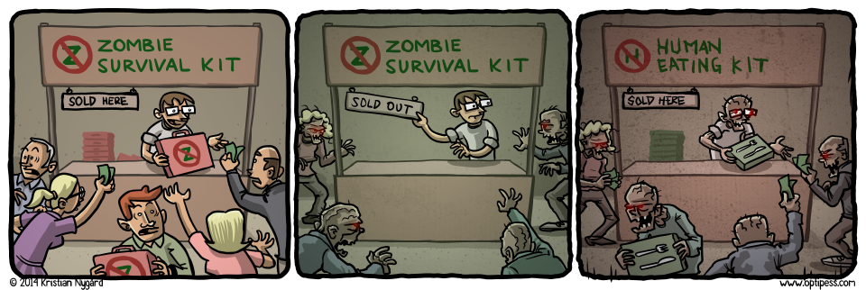 The zombies used brain chunks as currency for a while, until it started rotting away in brain banks.