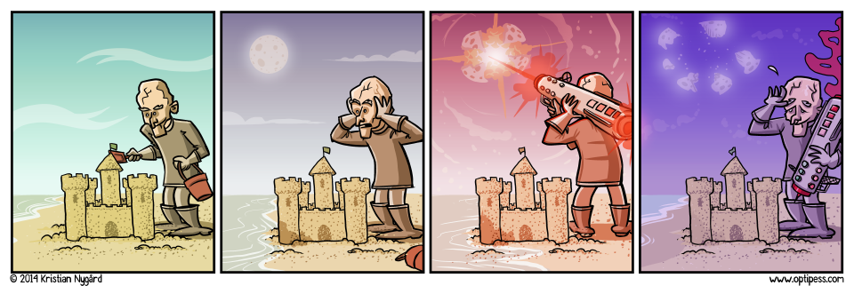 Later he blew up all of Earth except for the sand castle to make sure he could preserve it.