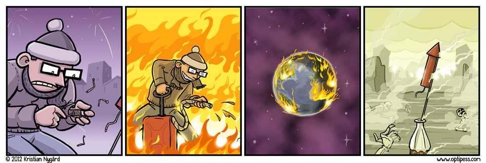 Yes, yes, physicist readers, I know the flames in the third panel wouldn't behave like that.