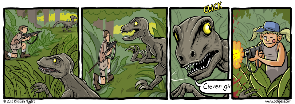 The dinosaur was also impressed with her UNIX skills.