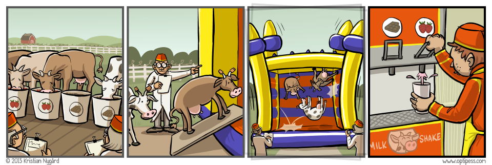 The cows are also forced to drive bumper cars for several hours.