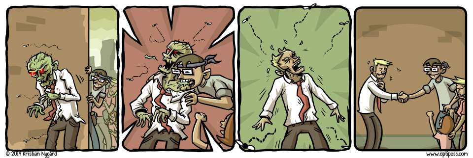 Of course, he went straight back to being a zombie just a few hours later. (That is, he went back to his office job.)