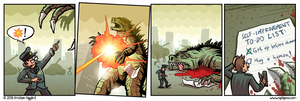 "Goodzilla had just read the radioactive version of David Allen's ""Getting Things Done""."