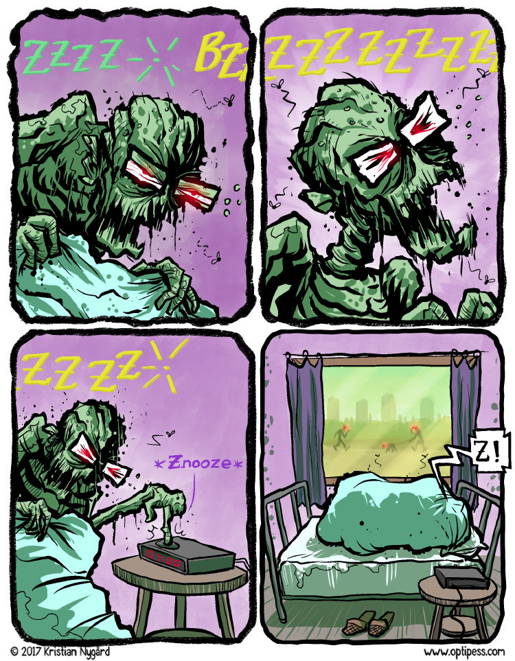 I can relate somewhat to this comic as I've lately been desperately trying to stay awake while watching The Walking Dead season 6.