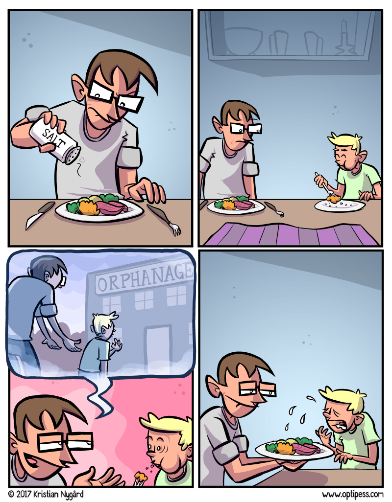 Oops, I guess this comic could be meme material for all sorts of horrible purposes if the third panel is altered. Don't do it!