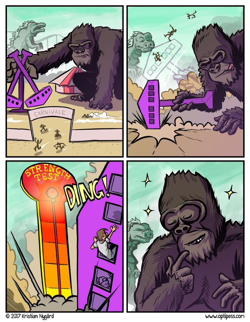 It was a last minute decision to add King Kong to this comic. It was originally MC Hammer.