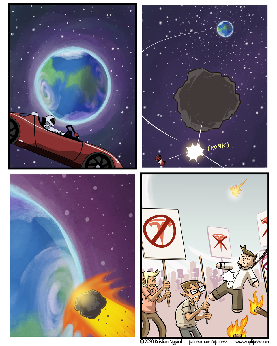 The real Elon did of course manage to escape Earth in another Roadster.