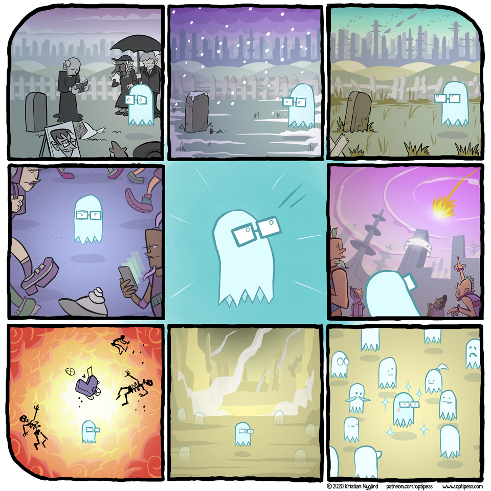 I guess this is kind of a prequel comic to the other ghost comic from a few weeks ago. Either way there is a heartwarming ending!