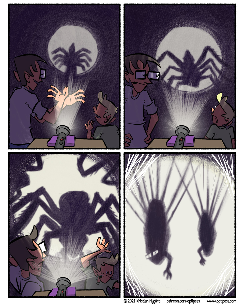 The shadow spiders would also pose the (dead) human hands in different poses to create various embarrassing human figures.